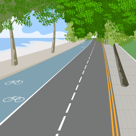 Bike lane,traffic sign nature landscape vector background