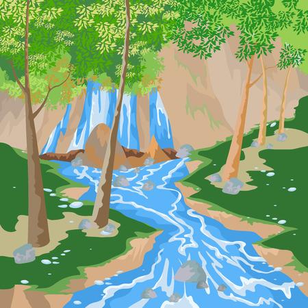 river rock: Waterfall,nature landscape vector background Illustration
