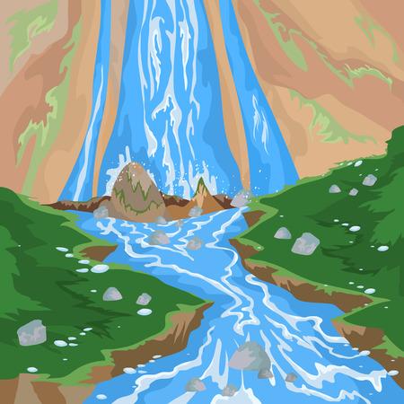 nature landscape: Waterfall scene,nature landscape vector background Illustration