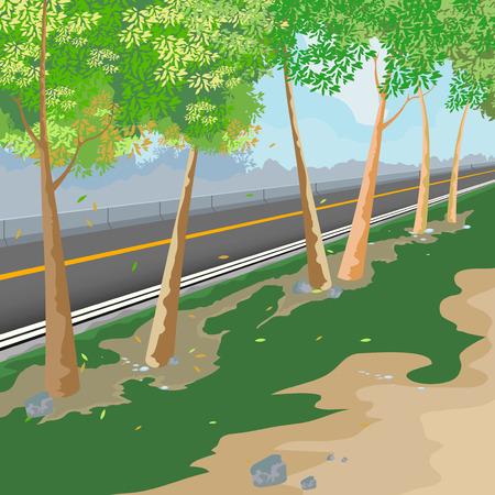 roadside: Beautiful view roadside,nature landscape vector background