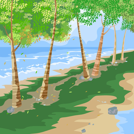 beach side: Beautiful view beach side,nature seascape vector background Illustration