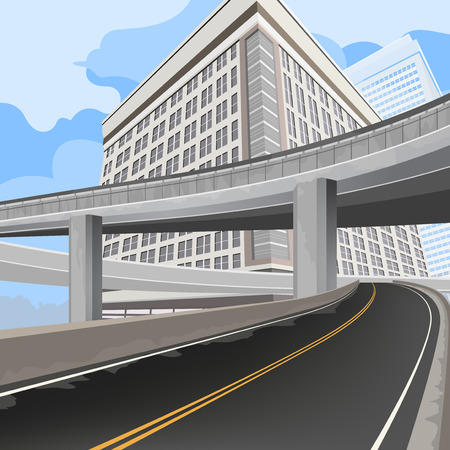 townscape: Elevated road,transportation vector background