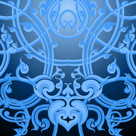 art contemporary: Blue striped,Thai art contemporary style background Illustration