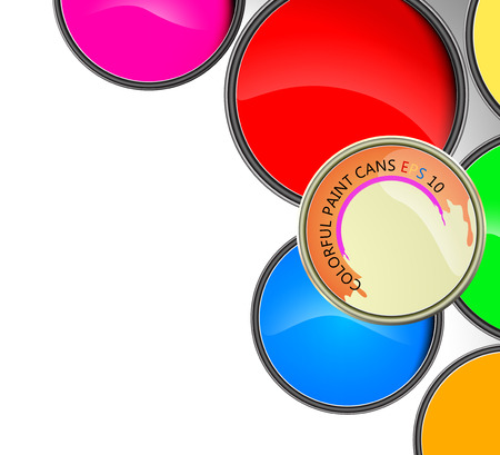 paint cans: Colorful paint cans vector on a white background