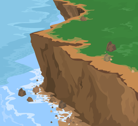 Cliff and seascape vector nature background