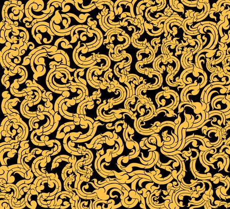 Vine art pattern on a black background Illustration