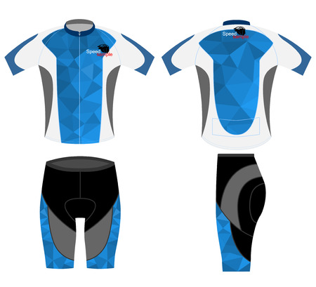 bike: T-shirt sport design and blue low poly vector on a white background