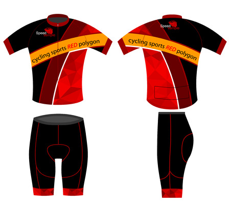 apparel: Cycling sports shirt red polygon vector on a white background