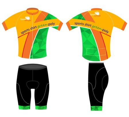 ciclismo: Camisa de deportes Ciclismo verde bajo poli vector sobre un fondo blanco