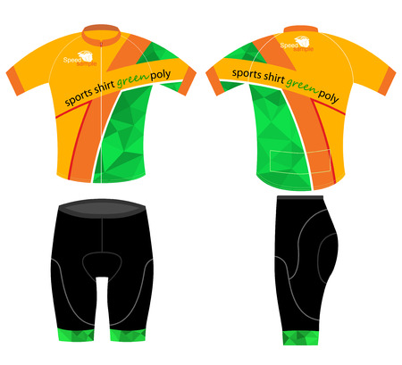 cycling: Cycling sports shirt green low poly vector on a white background Illustration