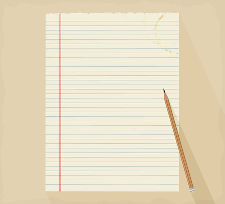 notepaper: Notepaper with pencil scene vector background