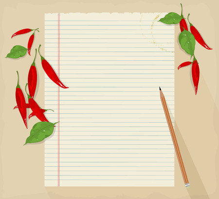 red pepper: Fresh red pepper with paper notes vector background Illustration