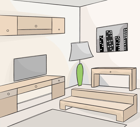living room: Living room interior vector background