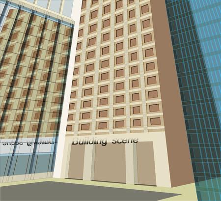 an exterior: Facade,building exterior scene vector architecture background