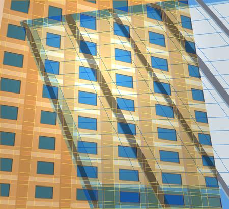 콘도: Reflection building exterior vector architecture background