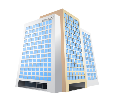 built structure: Office building vector architecture on a white background