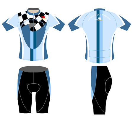 blue shirt: Blue shirt sports mountain bike design vector on a white background