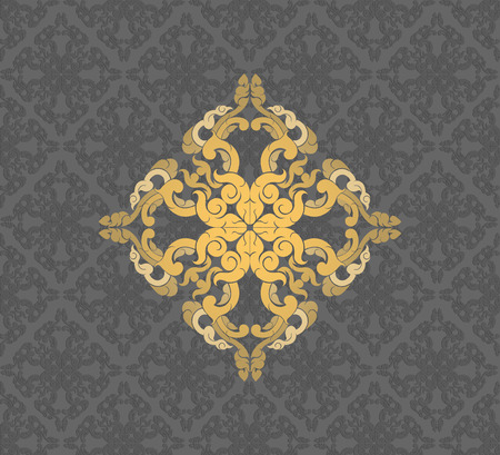 grey backgrounds: Gold floral pattern on a gray vector abstract background Illustration