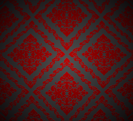thai culture: Red art pattern,Thai culture vector wallpaper background
