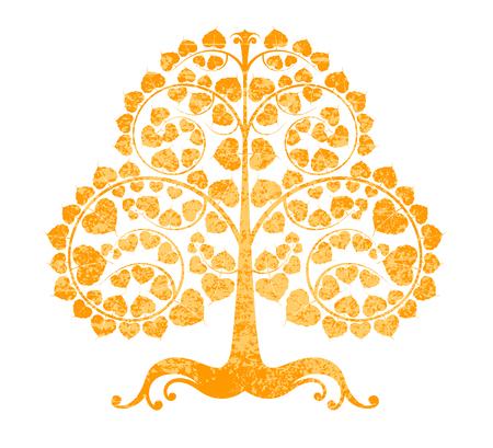 estilo grunge árvore de Bodhi em um fundo branco Ilustração