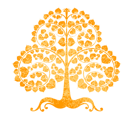 Bodhi tree grunge style on a white background Illustration