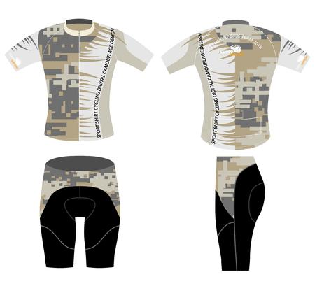 sports clothing: Digital camouflage on sports bike shirt design vector on a white background Illustration