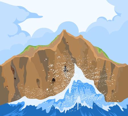 crashing: Huge waves crashing on the rock,vector seascape background