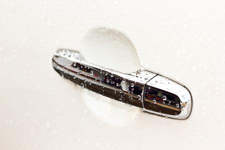 car door: Car door handles with water drops scene background