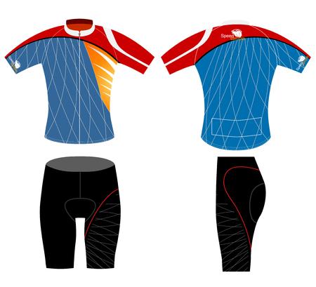 ciclismo: Diseño del chaleco Ciclismo, camisa deportiva del vector sobre un fondo blanco