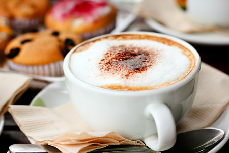 Closeup hot drink cappuccino scene,food and drink background Stock fotó