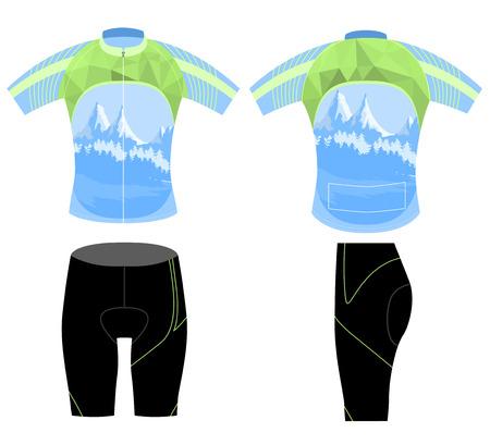 sports uniform: Uniform bike shirt,cycling vest low poly style design Illustration