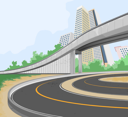 Elevated road,transportation and cityscape vector background