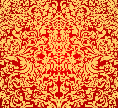 old wallpaper: Art pattern scene on red background Illustration