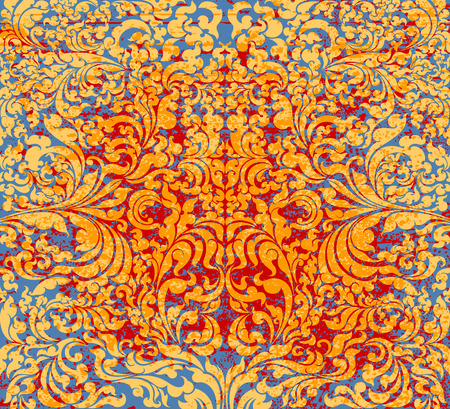 pattern grunge: Gold art pattern grunge style on red and blue background