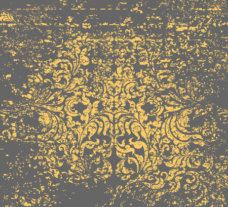 floral grunge: Gold floral grunge style on a gray background