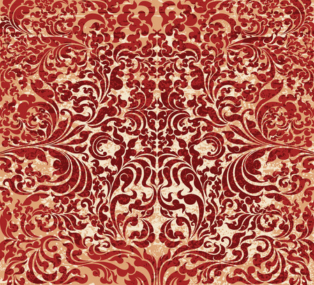 art contemporary: Red floral art pattern grunge style,Thai art contemporary vector background Illustration