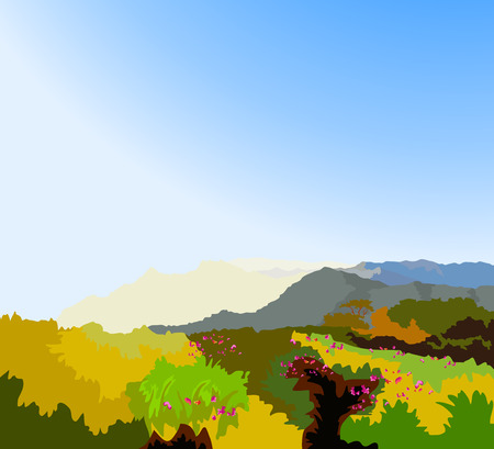 wilderness: Beautiful view wilderness landscape vector background