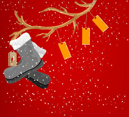 merry time: Merry Christmas time,seasonal scene vector on a red background Illustration