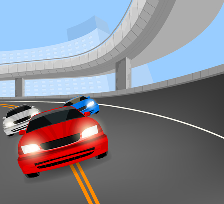 elevated: Racing car on the road scene,city street vector background Illustration