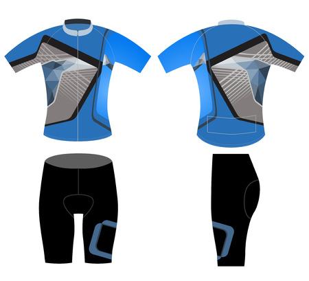Ropa de deporte ciclista, ciclo del vector del diseño del chaleco estilo bajo poli sobre un fondo blanco Ilustración de vector