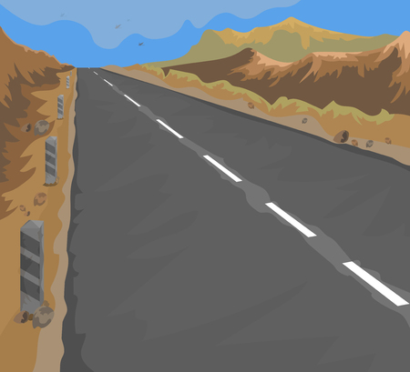 country road: Country road vector landscape nature background