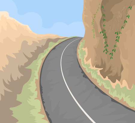 country road: The road on hill vector landscape nature background