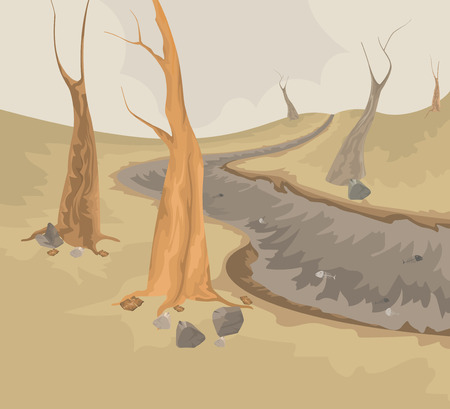 creek: Environment and dry creek scene vector nature background