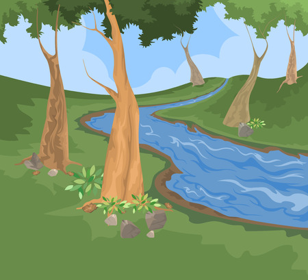 Environment and river creek vector nature background