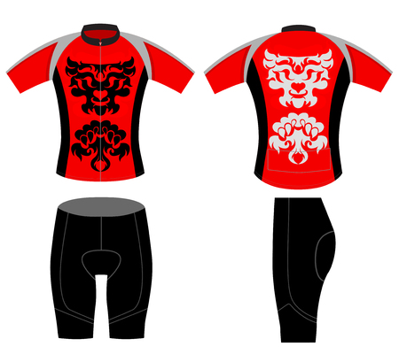 sports uniform: Sports cycling vest tattoo lion style vector design on a white background