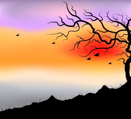 nightfall: Nightfall scene vector nature landscape background