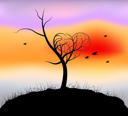 nightfall: Heart shaped tree,nightfall scene vector nature background