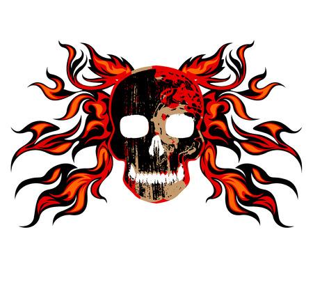 fire skull: Skull fire vector tattoo on a white background Illustration