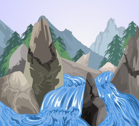 river rock: Waterfall scene vector nature background Illustration