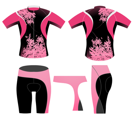 sportswear: Cycling clothing,womens short sleeve graphic t-shirt on a white background